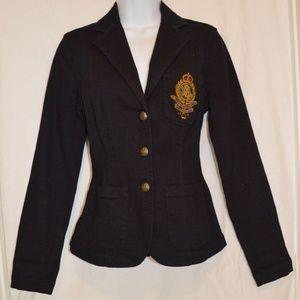 Navy jacket blazer CREST gold buttons Denim XS